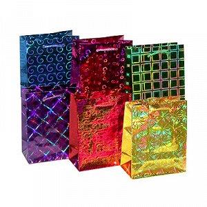 Пакет подарочный бум гологр 11х14x6см/ГГ