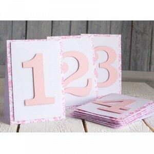 Карточки номер стола 1-9 розовый/ПД