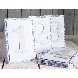 Карточки номер стола 1-9 серебро/ПД