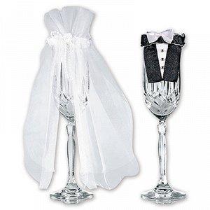 Украшение для бокалов свадебное/A