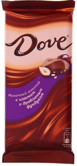Dove молочный шоколад с фундуком и изюмом, 90 г
