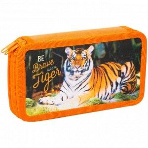"""Пенал 2 отделения, 190*110 ArtSpace """"Дикие кошки. Тигр"""", ткань"""