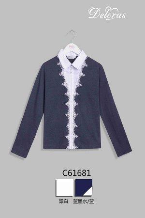 Блузка Т/синий - белый