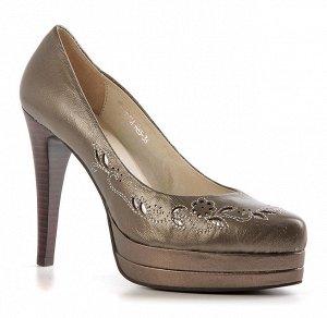 Красивые женские туфли, натуральная кожа, стального цвета