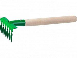 Грабельки садовые с деревянной ручкой