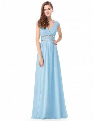 Голубое шифоновое вечернее платье
