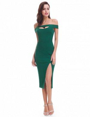Сексуальное обтягивающее зеленое платье с открытыми плечами и глубоким разрезом спереди