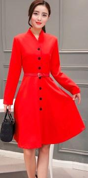 Платье на пуговицах с V вырезом и воротником-стойка длинные рукава (БЕЗ пояса) Цвет: КРАСНЫЙ