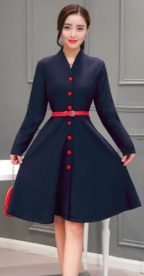 Платье на пуговицах с V вырезом и воротником-стойка длинные рукава (БЕЗ пояса) Цвет: ТЕМНО-СИНИЙ