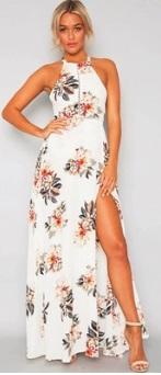 Длинное платье без рукавов с эффектом запаха и открытой спиной Цвет: БЕЛЫЙ