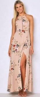 Длинное платье без рукавов с эффектом запаха и открытой спиной Цвет: ХАКИ