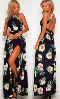 Длинное платье без рукавов с эффектом запаха и открытой спиной Цвет: ТЕМНО-СИНИЙ