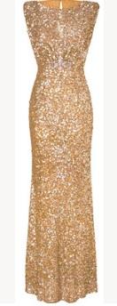 Платье-макси без рукавов расшитое пайетками Цвет: ЗОЛОТО
