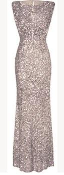 Платье-макси без рукавов расшитое пайетками Цвет: СЕРЕБРО