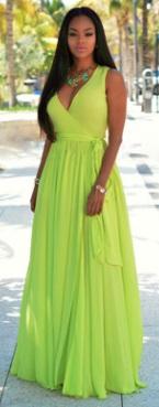 Длинное платье без рукавов с V вырезом и эффектом запаха Цвет: ЛЮМИНЕСЦЕНТНО-ЗЕЛЕНЫЙ