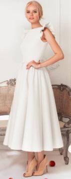 Длинное платье с крылышками на плечах Цвет: БЕЛЫЙ