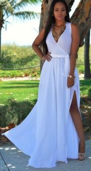Длинное платье без рукавов с V вырезом и эффектом запаха Цвет: БЕЛЫЙ