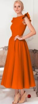 Длинное платье с крылышками на плечах Цвет: ОРАНЖЕВЫЙ