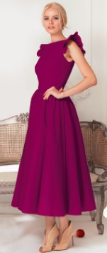 Длинное платье с крылышками на плечах Цвет: БОРДО