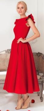 Длинное платье с крылышками на плечах Цвет: КРАСНЫЙ