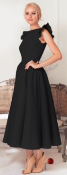 Длинное платье с крылышками на плечах Цвет: ЧЕРНЫЙ