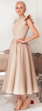 Длинное платье с крылышками на плечах Цвет: БЕЖЕВЫЙ