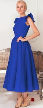 Длинное платье с крылышками на плечах Цвет: СИНИЙ