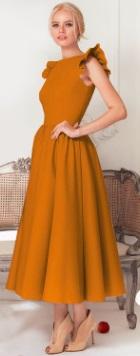 Длинное платье с крылышками на плечах Цвет: ЖЕЛТО-ОРАНЖЕВЫЙ