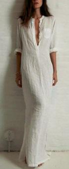 Длинное платье рубашечного кроя с глубоким V вырезом и длинными рукавами Цвет: БЕЛЫЙ