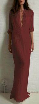 Длинное платье рубашечного кроя с глубоким V вырезом и длинными рукавами Цвет: БОРДО