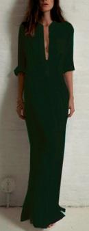 Длинное платье рубашечного кроя с глубоким V вырезом и длинными рукавами Цвет: ЧЕРНЫЙ