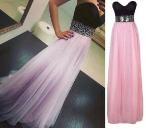 Длинное платье-бандо с фатиновой юбкой и расшитым пайетками поясом Цвет: ЧЕРНЫЙ С ФИОЛЕТОВЫМ