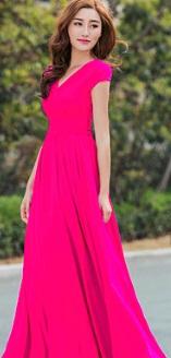 Длинное платье с V вырезом и короткими рукавами Цвет: РОЗОВЫЙ