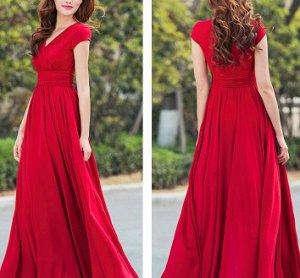 Длинное платье с V вырезом и короткими рукавами Цвет: КРАСНЫЙ