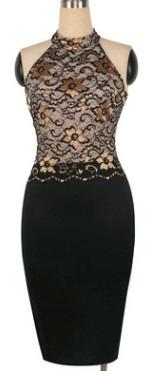 Комбинированное платье с кружевным топом без рукавов Цвет: ЧЕРНО-ЗОЛОТИСТЫЙ