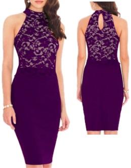 Комбинированное платье с кружевным топом без рукавов Цвет: ФИОЛЕТОВЫЙ