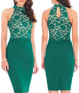 Комбинированное платье с кружевным топом без рукавов Цвет: ЗЕЛЕНЫЙ