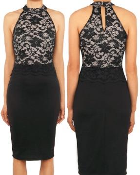 Комбинированное платье с кружевным топом без рукавов Цвет: ЧЕРНЫЙ