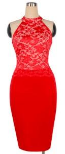 Комбинированное платье с кружевным топом без рукавов Цвет: КРАСНЫЙ