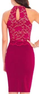 Комбинированное платье с кружевным топом без рукавов Цвет: РОЗОВО-КРАСНЫЙ