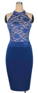 Комбинированное платье с кружевным топом без рукавов Цвет: СИНИЙ