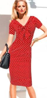 Платье в горох с V вырезом короткими рукавами и декоративным бантом Цвет: КРАСНЫЙ