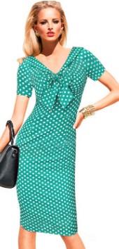 Платье в горох с V вырезом короткими рукавами и декоративным бантом Цвет: ЗЕЛЕНЫЙ