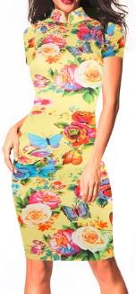 Платье в восточном стиле с цветочным принтом и короткими рукавами Цвет: ЖЕЛТЫЙ