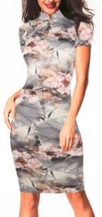Платье в восточном стиле с цветочным принтом и короткими рукавами Цвет: СЕРЫЙ