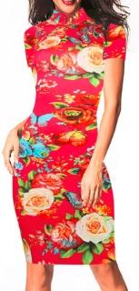 Платье в восточном стиле с цветочным принтом и короткими рукавами Цвет: КРАСНЫЙ