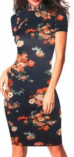 Платье в восточном стиле с цветочным принтом и короткими рукавами Цвет: ТЕМНО-СИНИЙ