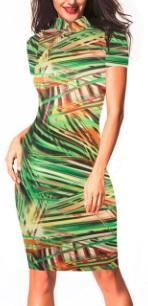 Платье в восточном стиле с цветочным принтом и короткими рукавами Цвет: ЗЕЛЕНЫЙ