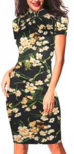 Платье в восточном стиле с цветочным принтом и короткими рукавами Цвет: ЧЕРНЫЙ (ЖЕЛТЫЕ ЦВЕТЫ)