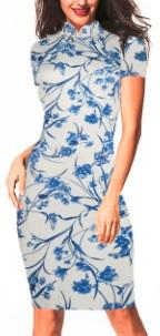 Платье в восточном стиле с цветочным принтом и короткими рукавами Цвет: БЕЛЫЙ (СИНИЕ ЦВЕТЫ)